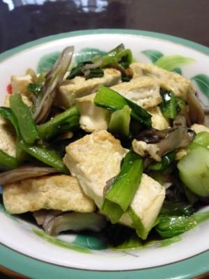 小松菜と豆腐の塩炒め